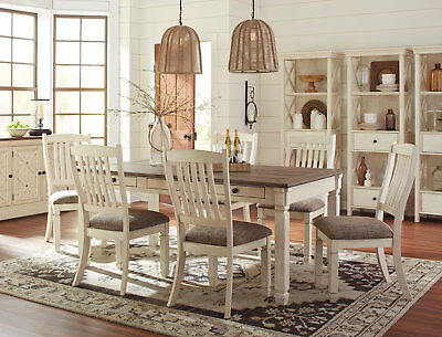 Cottage White & Brown Rectangular Table & Chairs - 7 pieces Dining Room Set IC1G
