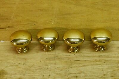"""Lot of 4 New Polished Brass Round Cabinet Knobs Drawer Pulls 1-3/8"""" Tall"""