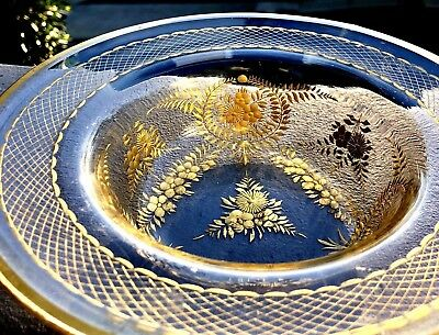 19th Century Antique Intaglio Cut Glass Floral Bowl Gold Enamel Gilt Gild Moser