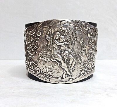 Vintage Victorian Sterling Silver 'Lovers On A Swing' Leather Cuff Bracelet