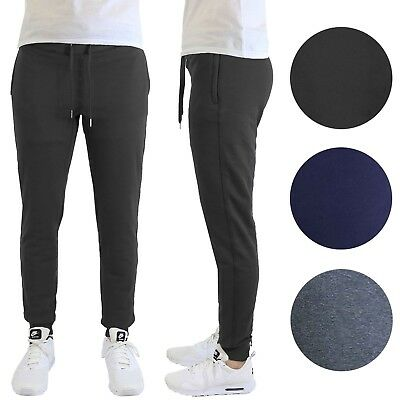 62bfd66f5d11 Mens Fleece Jogger Sweatpants w  Zipper Pockets Slim-Fit Warm Lounge Gym NEW