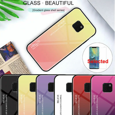 For Huawei Mate 20 Pro Luxury Gradient Tempered Glass Case 360 Shockproof Cover