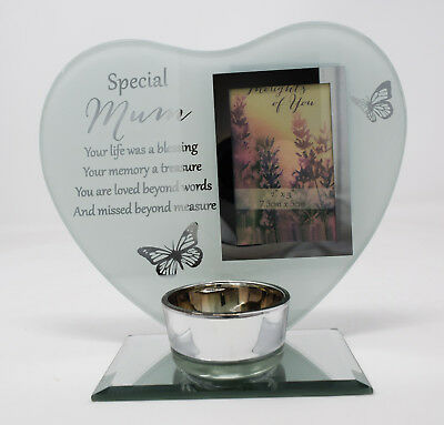 Special Mum Memorial Gifts Tea Light Candle Remembrance Plaque Heart Photo Frame