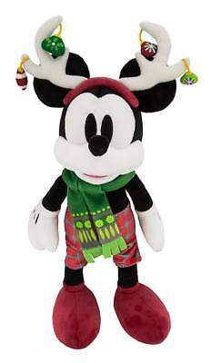"BRAND NEW Disney Parks 2018 Christmas Mickey with Reindeer Ears 11"" Plush"