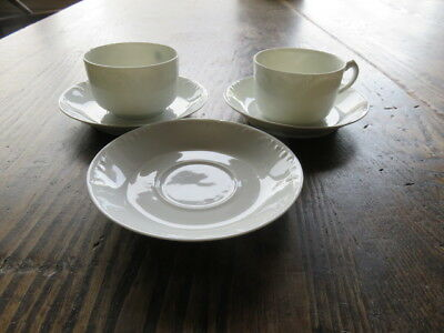 Set of 5 Antique Haviland Limoges France Marseille 3 Saucer & 2 Flat Cups