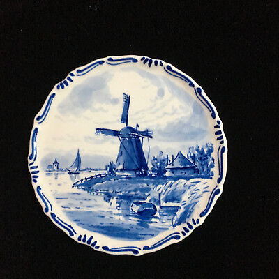 """Royal Delft Ware De Porceleyne Fles 4.5"""" Small Plate With Windmill and Sailboat"""