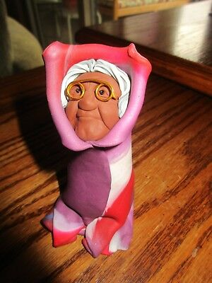Vintage 90's,Whaka Hey Clay Wisdom Woman, Purple/Red/White Blanket w/Glasses, 4""