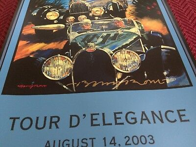 Pebble Beach Concours SIGNED 2003 Tour dElegance Poster Bugatti N.O.S Barry Rowe