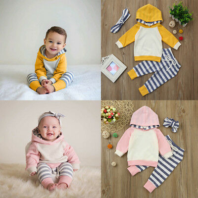 3pcs Infant Baby Outfit Kids Boys Girls Set Hoodie Tops+Pants+Headband Outfit