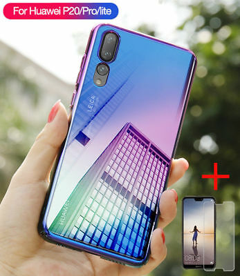 for Huawei Mate 20 P20 Lite Pro P Smart Blue Ray Gradient PC Case Cover + Glass