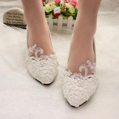 hot womens point toe Lace Pearl Wedding Bridal flats low high heel slip on shoes