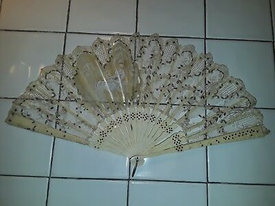 Antique French? Victorian Sequin Bone Hand Painted Lace Hand Fan No Reserve