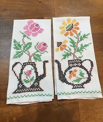 Vintage Embroidered Linen Hand Tea Dish Towels with Teapots & Flowers ~ Pair