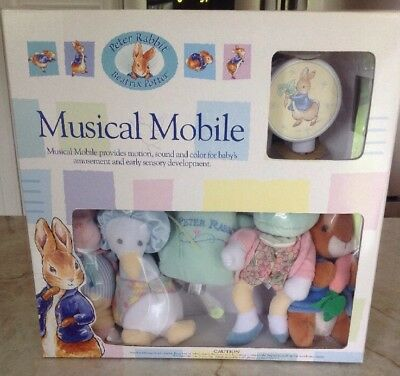 Beatrix Potter Peter Rabbit Plush Musical Mobile Baby Complete New In Box 2001