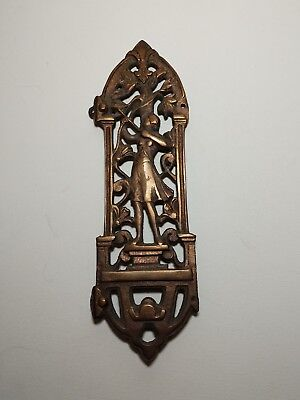 Vintage Art Nouveau Door Hardware Plate Lady with Bow & Arrow Brass Copper Wash