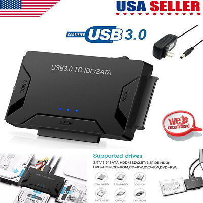 USB3.0 to 2.5 3.5 IDE SATA Hard Drive HDD SDD Converter Adapter PC Cable US GW
