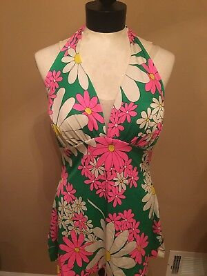 Vintage 1960's De Weese Green Floral Bathing Suit Top Size 16/38