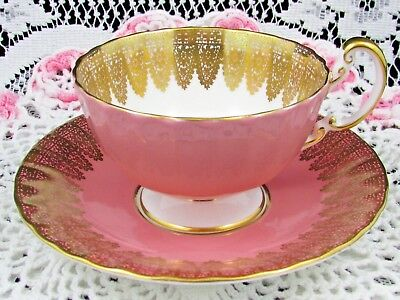 Aynsley Blush Pink Gold Gilt Lace Oban Style Tea Cup And Saucer