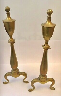 Vintage Colonial Brass Fireplace Andirons Pair Federal Style Finial Tops