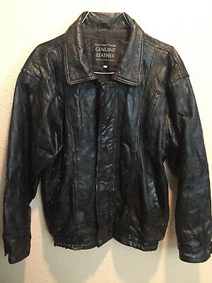 Black Genuine Leather Jacket XL Italian Stone Design Navarre Company