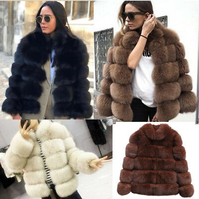 Ladies Winter Bomber Jacket Coats Fluffy Faux Fur Outwear Overcoat Warm Parka UK