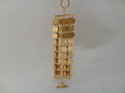 Kenneth Jay Lane 6 Row Discs, Coins HAMMERED GOLD TONE BRACELET, Toggle Closure