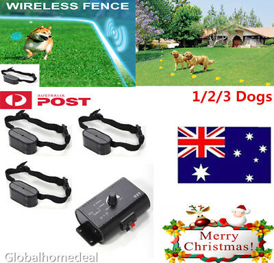 Electric Pet Fence Wireless Waterproof Barrier Boundary Collar For 1/2/3 Dogs AU