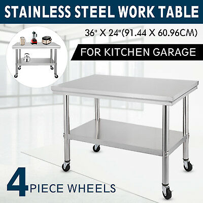 91X60CM Stainless Steel Prep Work Table With 4 Caster Garage Stability 2 Tier