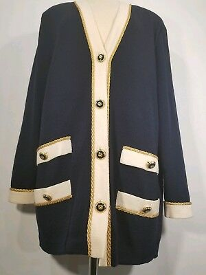 ST. JOHN Holidays Marie Gray Navy Blue Santana Knit Jacket Gold Rope Button 14