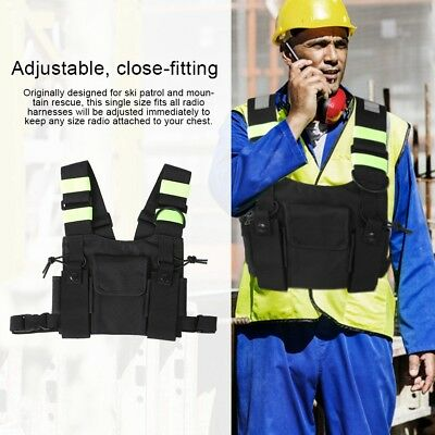 Chest Harness Front Pack Pouch Holster Carry Case With 4 Yellow Reflective Band
