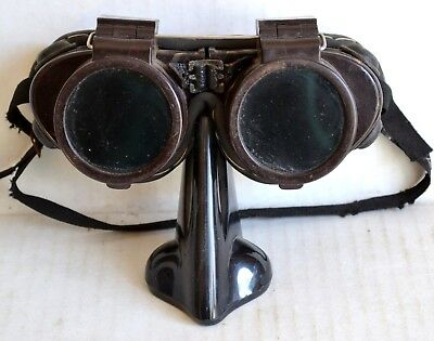 Antique WILLSON FLIP-UP Green/Clear GOGGLES Safety Welding Glasses Old Steampunk