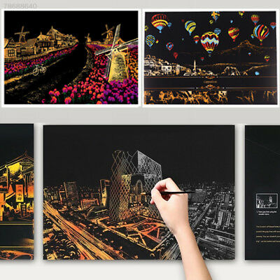 Colorful Magic Scratch Art Painting Paper With Drawing Stick Brush Kid Toy Gifts