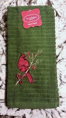 St Nicholas Square Cardinal Red Bird Holiday Christmas Kitchen Towel NEW