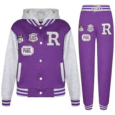 Kids Girls Boys Purple Baseball R Fox Tracksuit Hooded Varsity Jacket & Trouser