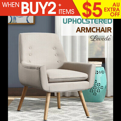Luxury Upholstered Armchair Dining Chair Single Accent Sofa Padded Fabric Beige