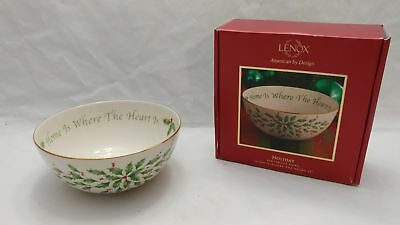 Lenox Holiday Sentiment CHRISTMAS Bowl Home is Where the Heart Is POINSETTIA