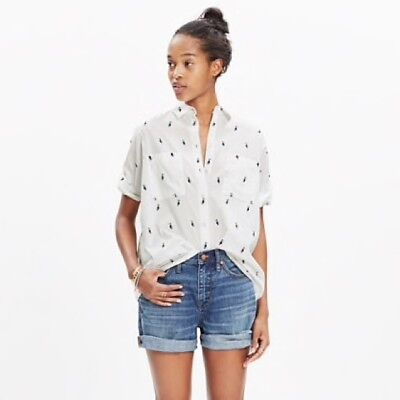 76fb701c Women's Madewell Courier Shirt Pelican Jacquard Button Down Hi Low Short  Sleeve
