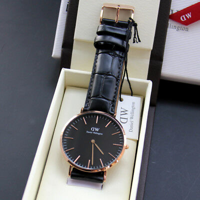 27357cc176a3 Rose Gold Case Leather Strap Black 40mm Dial Brand Men Quartz Watch  DW00100129