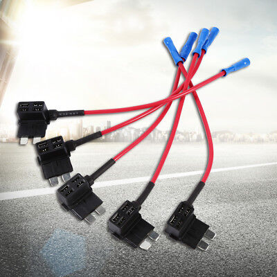 5x Car Add Circuit Piggy Back Tap Standard 1~40A ATO ATC Blade Fuse Box Holder