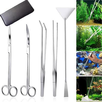 5pcs Maintenance Aquarium Tools Kit Tweezers Scissors For Live Plants Grass Tool