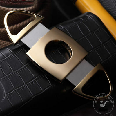 Double Blades Cigarette Scissors Stainless Steel Gold Plated Cigar Cutter Gift