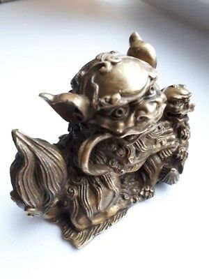 "7""Chinese Feng Shui Brass Evil Door Guardian Fu Foo Dog Lion , bronze statue"