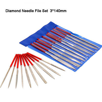 Professional Diamond Needle File Set Jeweller Repair Modelling Shaping 3×140mm