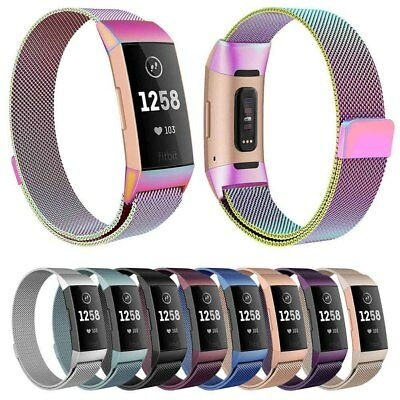 For Fitbit Charge 3 Milanese Magnetic Loop Stainless Steel Strap Watch Band CA