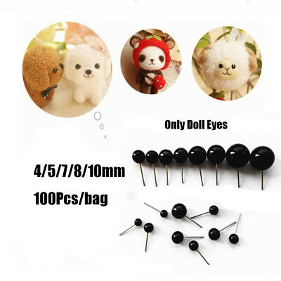 100Pcs Black Glass Dolls  Eyes Needle Felting For Bears Animals4/5/7/8/10mm