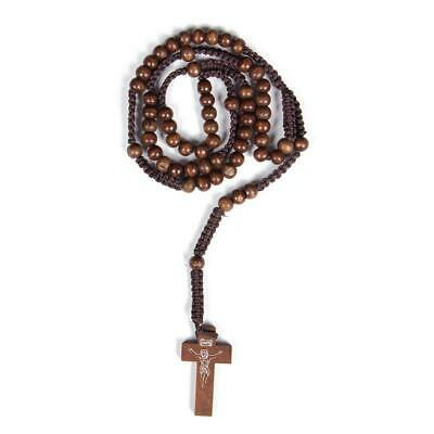 Dark Brown Religious Wood Necklace Catholic Rosary Prayer Cord Rope Rosary NEW
