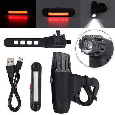 Warning Bike Bicycle Light LED Front Rear Tail Lamp USB Rechargeable Waterproof