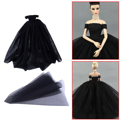 Long Strapless Gown Wedding Dress Without Veil For Barbie Fashion Dolls Black