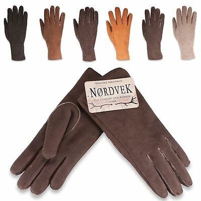 Nordvek Ladies Suede Leather Gloves Real Sheepskin Lined Womens 319-100