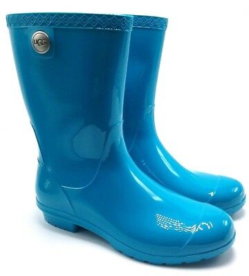 a2412d588f0 UGG SIENNA WOMEN'S Rain Rubber Boots 1014452 Teal Fur Insole Size 11 US